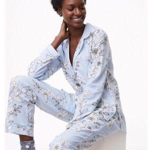 Loft Blue Floral Stripe Pajama Set